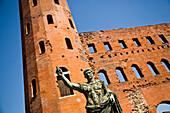 Statue at Porta Palatina, Turin, Italy