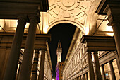 Famous Uffizi art gallery and Pallazzo Vecchio, night, Florence, Tuscany, Italy