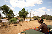 Man in jeep on safari by river, Samburuland, Kenya