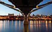 Abstract view of the Millennium Bridge at dusk, River Thames, London, England, UK, London, England, UK
