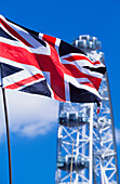 British flag in front of London Eye, London, England