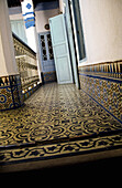 Interior of house with tile floor, Chaouen, Morocco