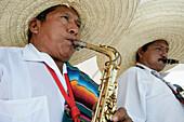 Men in sombreros performing at holiday resort in Mayan Riviera, Yucatan Peninsula, Quintana Roo State, Mexico
