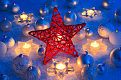 Christmas, ball, tree, decorations, decoration, adornment, candles, ball, sphere, light, lights, close_up, jewellery, snow, star, Christmas decoration, Christmas, Christmas ball, Christmas decoration, Christmas mood, winter, warmth, blue, decorative, red,