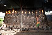 Brick Burner in Brick factory at Wamena, Baliem Valley, West Papua, Indonesia