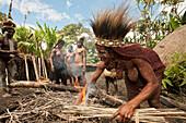 Dani Tribe preparing Earth Oven, Baliem Valley, West Papua, Indonesia
