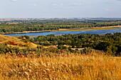 Mandandorf im Abraham Lincoln State Park und Missouri River, Bismarck, Burleigh County, North Dakota, USA