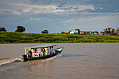 Boat excursion on side arm of Amazon river, near Manaus, Amazonas, Brazil, South America