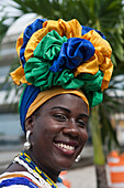 Friendly Brazilian woman in traditional costume, Salvador, Bahia, Brazil, South America