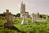 Cemetery in a village, near Dartmoor, Devon, Southern England, Great Britain, Europe