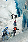 Glacier walking on the Briksdal Glacier, Jostedal Glacier National Park. Norway