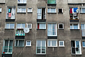 Full frame view of residential communist built block of flats, Wroclaw, Poland, Wroclaw, Poland