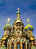 Ornate exterior of Church of Spilled Blood, St. Petersburg, Russia, St. Petersburg, Russia