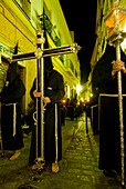 Procession of masked hooded priests at Semana Santa Easter festival, Cadiz, Andalucia, Spain