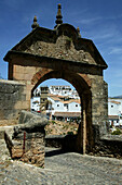 Entrance to the Jewish quarter in Rhonda, Rhonda, Andalucia, Spain. Puerta de la Exijara is the entry to Islamic Rhonda's Jewish quarter