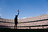 Football in Nou Camp stadium, Barcelona, Spain