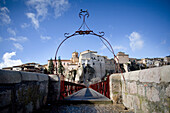 Entrance to footbridge, San Pablo, Cuenca, Castile-La Mancha, Spain