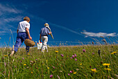 Couple carrying picnic baskets in meadow on the South Downs, West Sussex, England