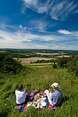 Couple having picnic in meadow on the South Downs, High Angle View, West Sussex, England
