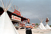 Crow Indian security guard for Casino, Crow Reservation, Montana, USA