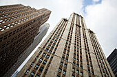 Tilt shift lens image - looking up at Skyscrapers in Manhattan, Manhattan, New York. USA.