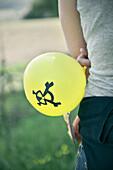 Luftballon mit Atomzeichen, Protest Demonstration Atomkraftwerk Gundremmingen, AKW Gundremmingen, Bayern, Deutschland