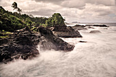 Waves crash at lava coast around To Sua Ocean Trench, Lotofaga, Upolu, Samoa, Southern Pacific, long time exposure