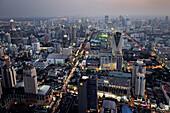 Modern skyscrapers at business district in Bangkok at night, Bangkok, Thailand
