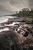 Swell at lava coast around To Sua Ocean Trench, Lotofaga, Upolu, Samoa, Southern Pacific Island, long time exposure