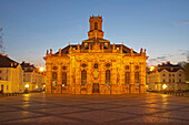 Baroque ensemble of Ludwigskirche with Ludwigsplatz square at dusk, Old town, Saarbruecken, Saarland, Germany, Europe