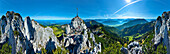 View from Kampenwand, lake Chiemsee, Chiemgau, Upper Bavaria, Germany