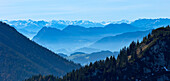 View from Kampenwand to southwest, Chiemgau, Upper Bavaria, Germany