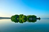Lake Starnberg with Roseninsel, Feldafing, Upper Bavaria, Germany