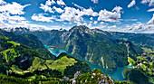 View from mount Jenner to Watzmann and Lake Koenigssee, Berchtesgadener Land, Upper Bavaria, Germany