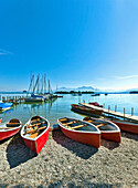 Marina of Gstadt, lake Chiemsee, Chiemgau, Upper Bavaria, Germany