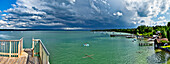 Thunder clouds over lake Ammersee, Utting, Upper Bavaria, Germany