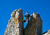 Young mountaineer, Steinling Alm, Kampenwand, Chiemgau, Upper Bavaria, Germany