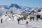 Ski slope at ski area Pengelstein in the sunlight, Winter in Tyrol, Austria, Europe