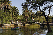 Parque Tres de Febrero, rowing boat on the channel, Bosque de Palermo, Buenos Aires, Argentina