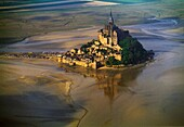 Mont Saint Michel, view with convent, built: 1017-1520, exterior view, Europe, Normandy, Benedictine abbey, monastery, World Heritage Site, consecrated to archangel Michael, founded in 708, Basse-Normandie region, Normandy, France, Europe