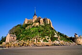 Mont Saint Michel, view with convent, built: 1017 - 1520, exterior view, Europe, Normandy, Benedictine abbey, monastery, World Heritage Site, consecrated to archangel Michael, founded in 708, Basse-Normandie region, Normandy, France, Europe