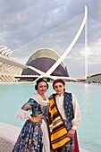 Spain-Valencia Comunity-Valencia City-The City of Arts and Science built by Calatrava-Couple in traditional outfit