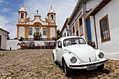 Brasil, Minas Gerais, historic city of Tiradentes, Sao Antonio church, originated from a wooden chapel in 1702, the time of the first explorers  Its definitive construction started in 1710  The church was open 20 years later  The present façade is believ