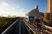 Yurikamome line, Monorail train, Odaiba, Tokyo, Japan.