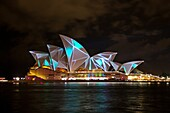 Australia, New South Wales, Sydney Opera House, Lighting of the sails during the Vivid Live 2011 Festival with lighting effects by the French Collective Superbien