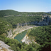 abrupt, Ardèche, attraction, blue, canoe, canyon, cliff, Color image, corniche, day, destination, discovery, ecosystem, Europe, forest, formation, France, French, geological, geology, gorge, green, Haute, landmark, Landscape, location, majestic, meander,