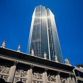 Statues on Gibson hall & tower 42, former Natwest National Westminster, London, Great-Britain