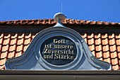 Germany, Xanten, Rhine, Lower Rhine, North Rhine-Westphalia, NRW, evangelic church at the market place, detail, benediction, ´God is our confidence and strength´