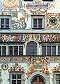 D-Lindau Bodensee, Bodensee, Schwaben, Bayern, Altes Rathaus, Renaissance, Detail, Fassade, Wandmalerei, Fresken, D-Lindau Bodensee, Lake Constance, Swabia, Bavaria, old city hall, renaissance, detail, facade, wall painting, frescoes *** Local Caption ***