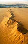 Namibia - The green belt of the dry Kuiseb riverbed in the background is forming the northern boundary of the expanse of dunes of the southern Namib Desert  Aerial view  Namib-Naukluft Park, Namibia